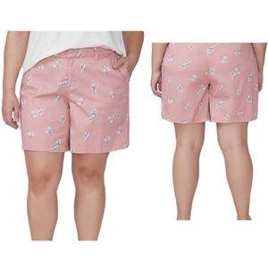 Lane Bryant Girlfriend Ruffle Pocket Chino Shorts